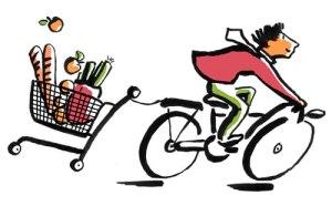 Einkaufen mit dem Rad